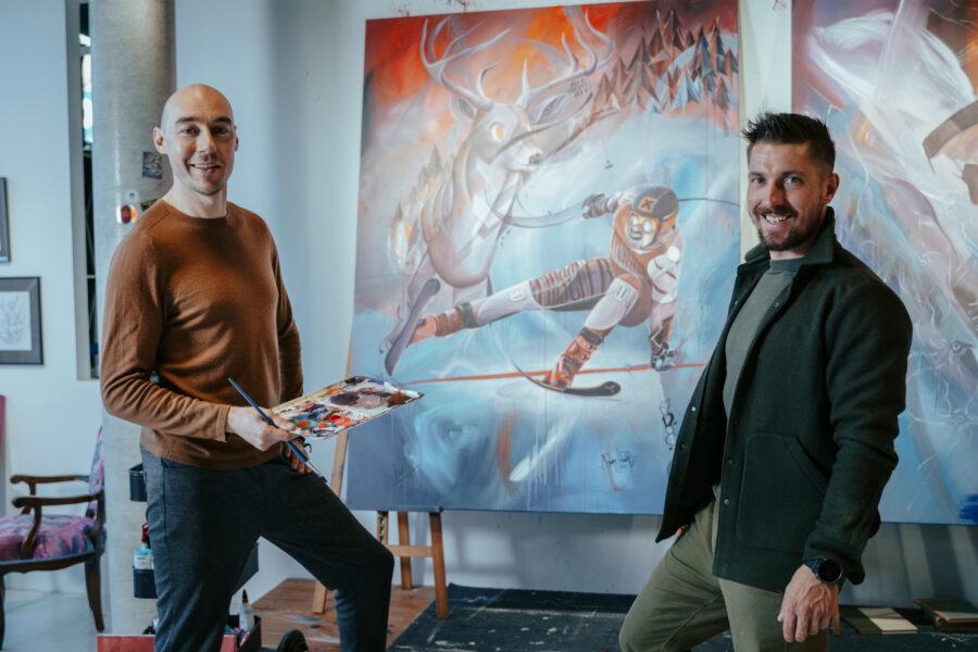 Marcel Hirscher und Tom Lohner präsentieren gemeinsames Kunstwerk zugunsten Licht ins Dunkel